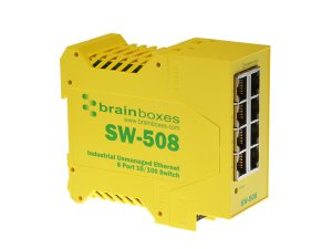 Brainboxes SW-508 Industrial Unmanaged Ethernet Switch 8 Ports
