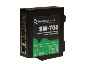 Brainboxes SW-705 Hardened 10/100MBps Ethernet 5 Port Switch