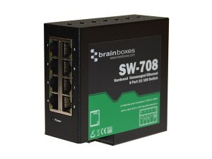 Brainboxes SW-708 Hardened 10/100MBps Ethernet 8 Port Switch